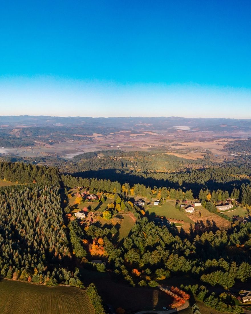 Aerial view of Homes for Sale on Acreage near Portland OR