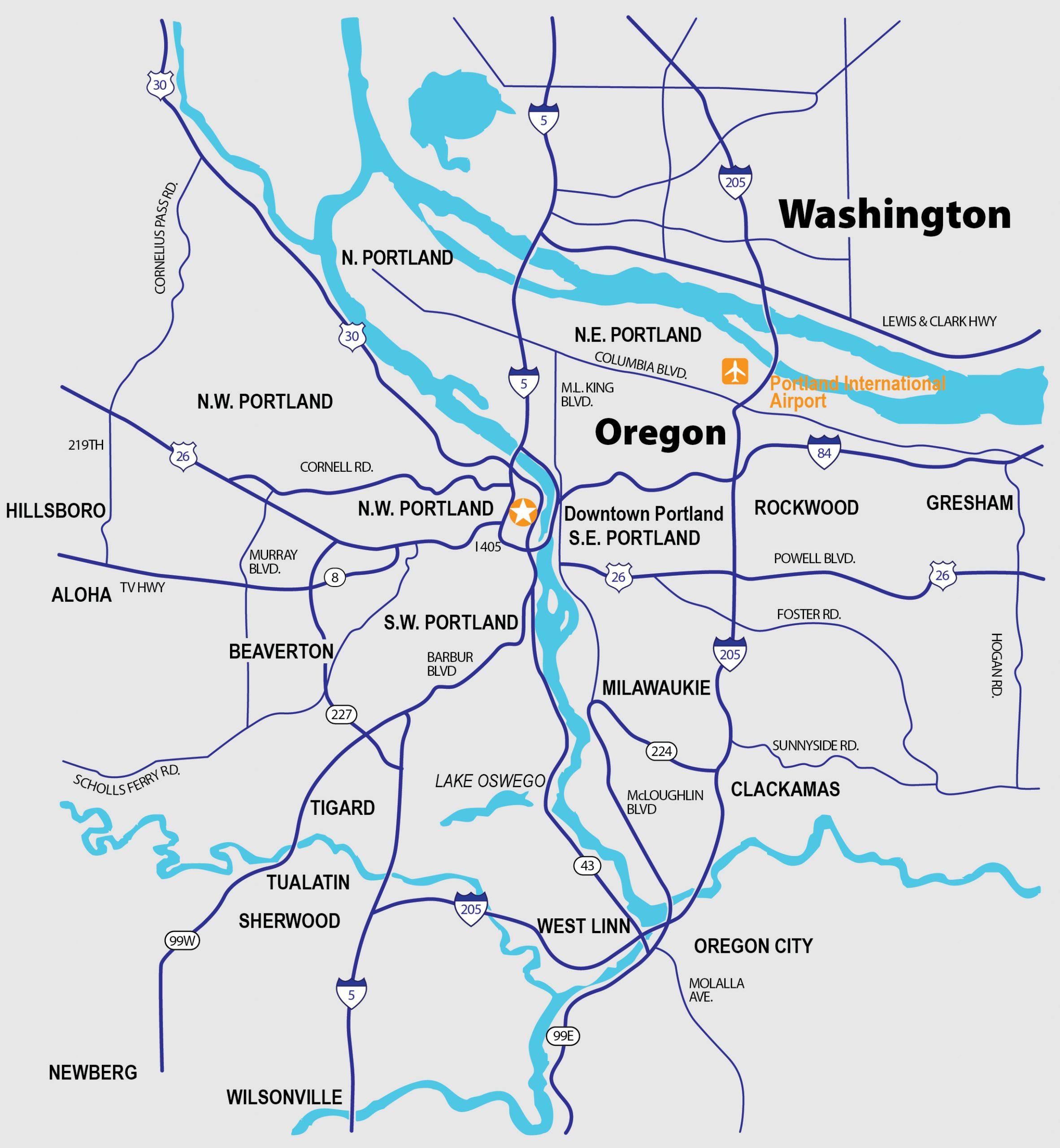 Portland Oregon map, Buyers Agent Portland